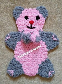 Geannoteerde Bear Fibre Making - Bear Fibre Making 40 - Origami Tattoo, Crochet Potholders, Crochet Stitches, Baby Knitting Patterns, Crochet Patterns, Braidless Crochet, Beginner Crochet Tutorial, Pom Pom Rug, Embroidery Tools
