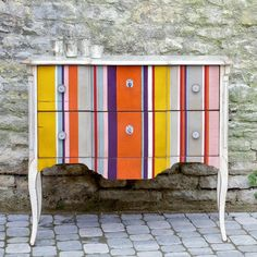 Chest of Drawers-A French inspired, handcrafted Louis XV, modern chest of drawers made from cherry wood. Superbly constructed specially for us with a distictive modern, distressed lacquer finish.