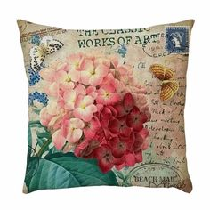 Mint 'n Lavender – Adding fun and interest to your home effortlessly Shabby Chic Throw Pillows, Vintage Pillows, Vintage Country, French Country, Country Farmhouse, Red Hydrangea, Cute Cushions, Vintage Floral Fabric, Cushion Cover Designs