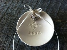 Mr & Mrs Ring Dish by Chrissy Ann Ceramics (Also available without date & as Mr & Mr or Mrs & Mrs)