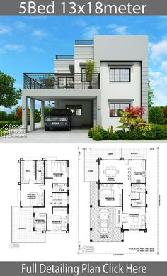 Home design plan with 5 Bedrooms - Home Design with PlansearchYou can find Home plans and more on our website.Home design plan with 5 Bedrooms - Home Design with Plansearch 2 Storey House Design, Duplex House Plans, Bungalow House Design, House Front Design, Small House Design, Dream House Plans, Modern House Design, House Plans Mansion, Modern House Floor Plans