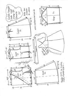 Шитье Vestido transpassado evasê com manga Dress Sewing Patterns, Sewing Patterns Free, Clothing Patterns, Fabric Sewing, Skirt Patterns, Blouse Patterns, Diy Clothing, Sewing Clothes, Barbie Clothes