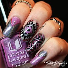 Trendy Purple Nail Art Designs You Have to See - Hative Love Nails, Fun Nails, Pretty Nails, French Nails, Purple Nail Art, Purple Glitter, Glitter Nails, Nail Stamper, Geometric Nail