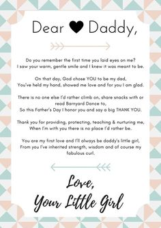 Cute dear daddy poem from a daughter to her father for Father's Day! Create your own to make a special gift for your dad. {pacific kid} fathers day diy crafts, preschool mothers day, fathers day poems from kids Daddy Poems, Daddy Daughter Quotes, Dad Daughter, Diy Father's Day Gifts From Daughter, Dad Dad, Daughters, Diy Gifts For Dad, Daddy Gifts, Daddy Birthday
