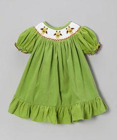 Loving this Green Owl Corduroy Bishop Dress - Infant, Toddler & Girls on #zulily! #zulilyfinds