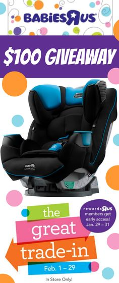 """Want to win my $100 Babies""""R""""Us Gift Card Giveaway?  ENTER ----> http://freebies4mom.com/winbru ad Remember SAFETY comes first! BRUGreatTradeIn (ends 2/15/16)"""