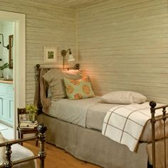 Neutral Escape    A soothing all-natural color scheme and handy reading lights above the beds make a small space cozy, not cramped.