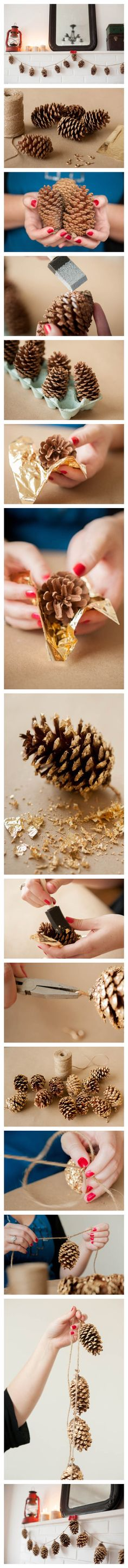 pine cone garland--cute in dressing room, or add as a garland w/ more pine to the kitchen pot-hanger...could do a theme of pinecone garland in kitchen