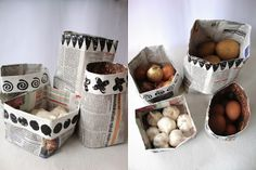 make a storage basket from newspaper