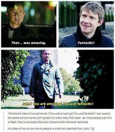 Sherlock's compliments = John's compliments. So sweet, but so sad!: