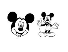 Mickey Mouse Cutting Files Silhouette SVG, DXF and EPS vinyl cut Files, for Cameo and Cricut Explore machines. Free!