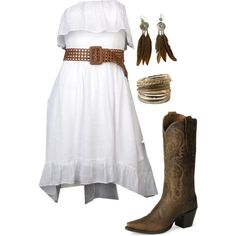 """""""Country Summer."""".. i really only like the dress.. and bracelet..and earrings.... And I lie it all...."""