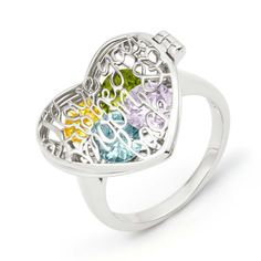 Create a custom birthstone heart ring for mom or yourself at Eve's Addiction! Custom sterling silver jewelry ships quickly. Shop custom birthstone jewelry.