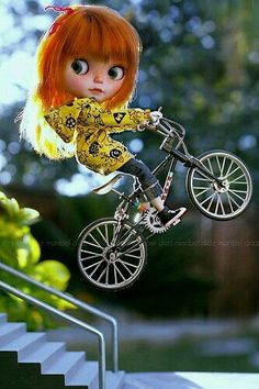 Blythe Doll on a Bicycle