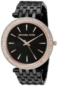 5cb3943f42fb Michael Kors Watches   Michael Kors Womens Darci Rose GoldTone  CrystalStudded Watch with Black Bracelet    Check out this great product.
