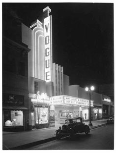 The Vogue Theater marquee, lit for business on Hollywood Boulevard, 1935.