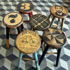 In this image: Decoupage Chairs Funky Furniture, Refurbished Furniture, Paint Furniture, Repurposed Furniture, Furniture Projects, Furniture Making, Furniture Makeover, Bar Stool Makeover, Painted Stools
