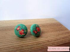 Vintage Rosebund Mint earrings handmade by Pili B