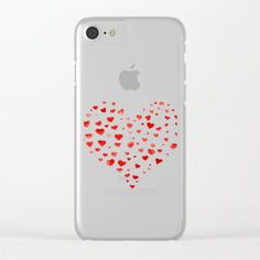 Be My Valentine! Clear iPhone Case I love you,red hearts,valentines day,valentines card,expressing love,affection,heart,aquarelle,watercolors,watercolor brush lettering,hand painted,hand written,original artwork,best gift,imperfection,pink,red,lovely,cute,simple,effective,red on white,white background,simple and easy art,easy design,affordable art