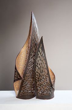 ENVELOP  Jennifer Falck Linssen  Katagami-style handcarved paper sculpture with stitching. archival cotton paper, aluminum, coated copper wire, waxed linen, stainless steel, paint, and varnish