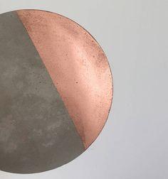 Set of 4 Copper / rose gold segment concrete cement coasters