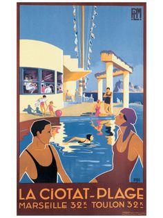 La Ciotat Plage Original Vintage Beach Poster by Dabo Art Deco