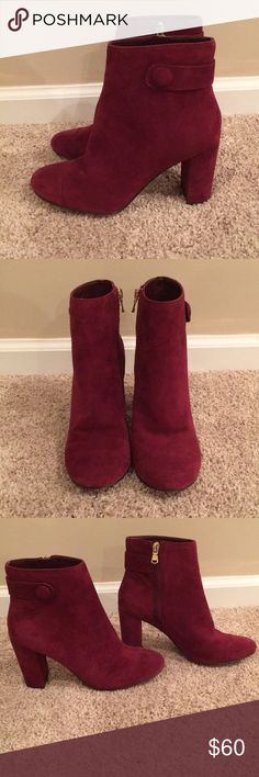 Ann Taylor suede bootie Ann Taylor Imogene suede burgundy bootie. Beautiful condition. Barely worn. Leather suede upper. Ann Taylor Shoes Ankle Boots & Booties