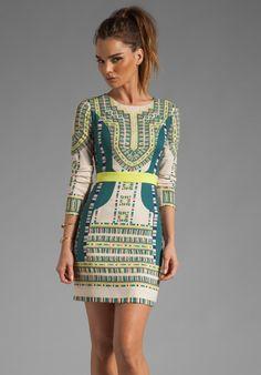 BCBGMAXAZRIA Odette Embroidery Dress in Vanilla Combo
