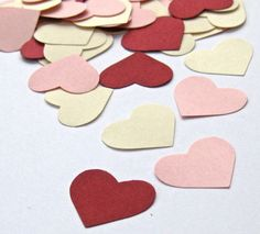 Pink, Red and Cream Colored Card Stock - One Inch Paper Punches