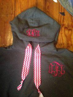 Monogrammed hoodie. colors can be red, black, white, purple, grey, dark pink, light pink, royal blue, kiwi green, maroon,or navy. Ribbon colors