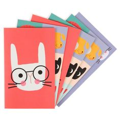 Animal Squares folder notecards - set of 10 - NEW - Stationery - New for Autumn