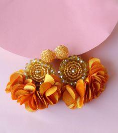 Golden Yellow Beaded Flower Tassel Earrings - Lux Store DR