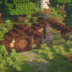 A simple and cozy hobbit hole for your Minecraft world! Hit the link for a tutorial! Simple Minecraft Houses, Minecraft House Plans, Minecraft Mansion, Minecraft Cottage, Minecraft City, Minecraft House Designs, Amazing Minecraft, Minecraft Blueprints, Minecraft Creations