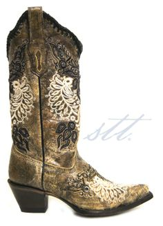 New to STT -- Corral Women's Black Antique Wing & Stud Cowgirl Boots   This Corral® women's boot is new to STT. The black antiquing on brown leather, white & black embroidery, and saddle studs give this boot pizazz!   SouthTexasTack.com