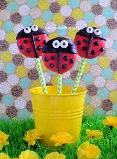 Lady bug Oreo pops