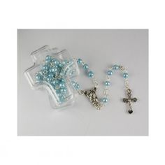 BLUE PEARL ROSARY IN CROSS BOX