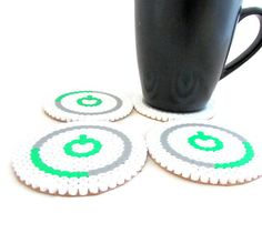 Xbox drinks coasters, xbox 360 power ring, set of 4, cork backed. Geekery, bead art, Video game art. Hama/perler bead on Etsy, £11.50