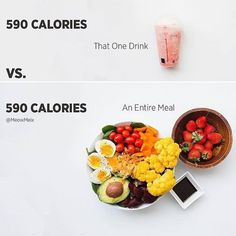 Which would you rather have?😸 While it's totally great to treat yourself, being aware of your choices and what that means for the rest of your day is important! ❤️ Below is a breakdown...