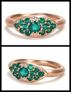 I LOVE IT!!!  Alberian and Aulde's emerald classic pillow ring in rose gold with accent diamonds.
