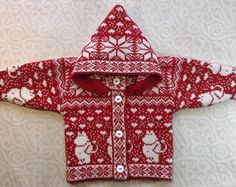 Trendy winter cardigan for children with moomin pattern and hood