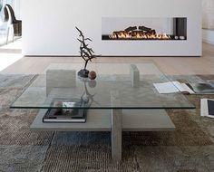 Mesa de hormigon y cristal.