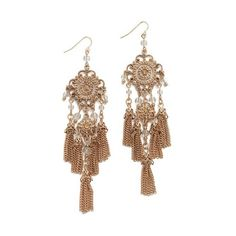 Adia Kibur Casey Earrings (160 PLN) ❤ liked on Polyvore featuring jewelry, earrings, gold, chains jewelry, yellow gold earrings, beaded fringe earrings, gold jewelry and gold bead earrings