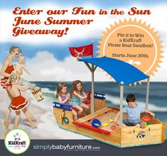 Forget the Beach!  Pin it to Win a Kidkraft Pirate Boat Sandbox. Tons of fun pirate-play for your little buccaneers right in your own backyard. Is your child too young for sand play? Tip: Try using alternatives like rice or beans instead of sand.  #pinittowinit #summerfun