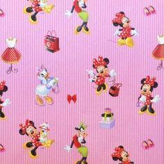 Tela Popelín Disney Minnie Rayas Rosa