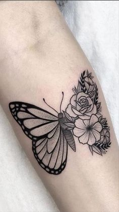 Butterfly With Flowers Tattoo, Colorful Butterfly Tattoo, Butterfly Tattoos For Women, Butterfly Tattoo Designs, Tattoos For Women Small, Flower Tattoos, Small Tattoos, Cute Tattoos, Body Art Tattoos