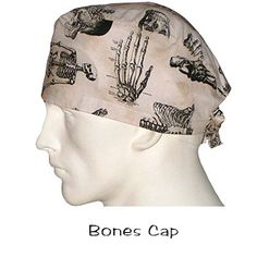Surgical Caps Bones In Stock 100% Cotton USA Made over 401 designer fabrics Ships Today Worldwide Order Buy Now @ www.surgicalcaps.com