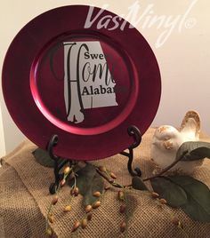 Decorative Charger Plate Sweet Home Alabama Unique by VastVinyl