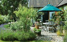 FRODIG TRÄDGÅRD PÅ HJUL   Växter i blått, vitt och rosa dominerar i Jörgen välkomponerade trädgård på Österlen. På våren flyttar frostkänsliga invånare ut ur orangeriet. Och sedan byter plantorna i Jörgens trädgård plats så ofta att han önskar de var försedda  med hjul. Morgonsol vid Jörgens länga på Österlen. Uteplatsen omgärdas av lavendelhäckar och rosor som klättrar utmed fasaden. Parasoll och utemöbler, Classic Garden.