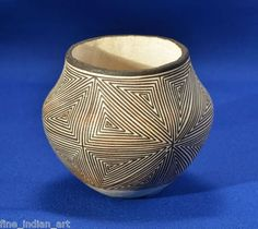 "Lucy Lewis Acoma Indian Pottery Jar C 1970 3 25""x 3 5"" 