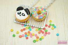 Miniature Panda Cookies and Fruit Cereal Donut Charm by intrinkett